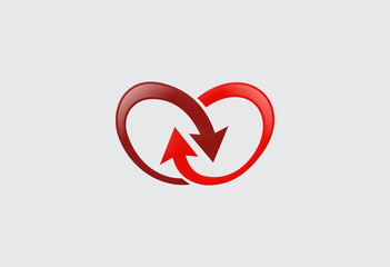 arrow infinity love vector logo