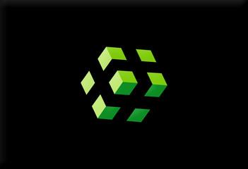 box 3D abstract design logo