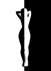 Fashion black and white woman posing