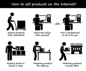 Selling Product Online Internet Process Cliparts
