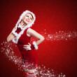 canvas print picture - junge Miss Santa mit Sternchen