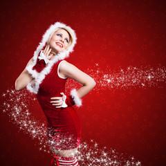 junge Miss Santa mit Sternchen
