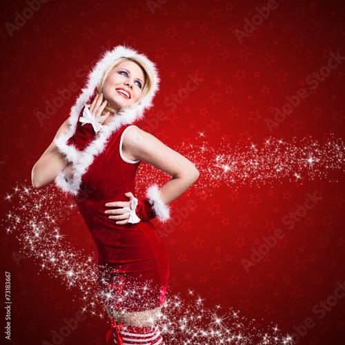 canvas print picture junge Miss Santa mit Sternchen