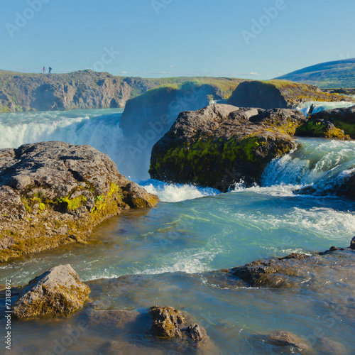 Beautiful vibrant panorama picture with a view on icelandic wate - 73183692