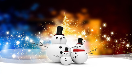 snowman family with light star