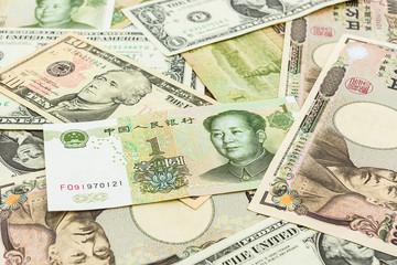 Colorful of World banknotes ,dollar,J apanese Yen,Chinese yuan b