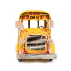 Front of yellow retro school bus.