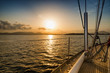 sunset on the sea from the sail boat