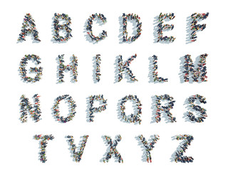 illustrations of alphabet,with people