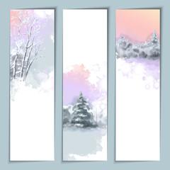 Vector Watercolor Winter Banners