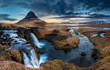 Leinwandbild Motiv Iceland landscape - Sunrise at  Mt. Kirkjufell