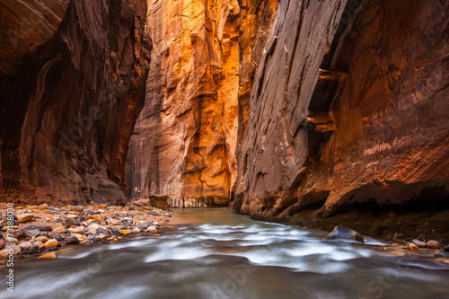 Glowing Sandstone wall, The Narrows, Zion national park, Utah - 73188038