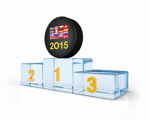 Flags, 2015 on hockey puck and ice winners podium