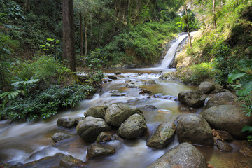 waterfall in forest in National park, Lampang, Thailand