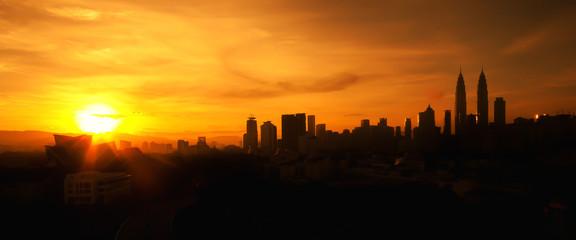 Blur image silhouette of Kuala Lumpur city panorama