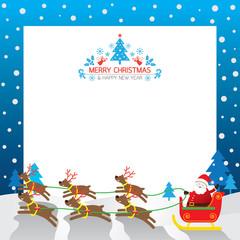 Santa's Sleigh, Reindeer, Border & Background