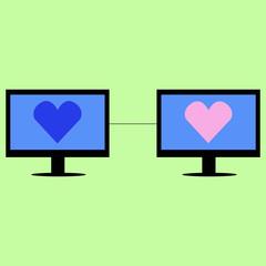 Virtual love in flat style