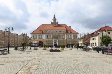 Town Hall & Market Square in Olsztynek, Poland