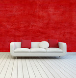White Sofa with Pillows on an Empty Room