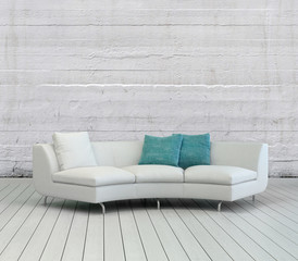 White Sofa on Empty Room with Textured White Wall