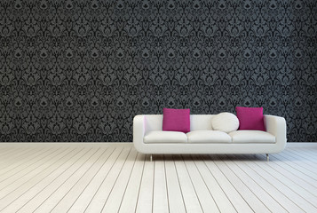 Sofa on Empty Room with Artistic Black Wall Design
