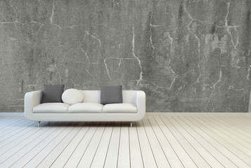 White Couch on Empty Vintage Living ROom
