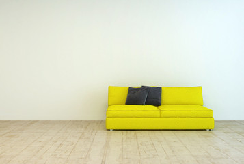 Yellow Couch Furniture on an Empty Living Room