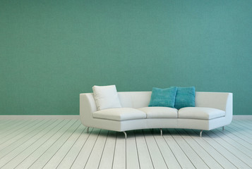 Sofa on Empty Living Room with Gray Green Wall