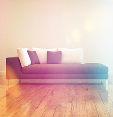 Elegant Gray Couch on Empty Room
