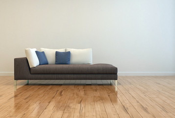 Attractive Sofa with Pillows on Empty Lounge Room