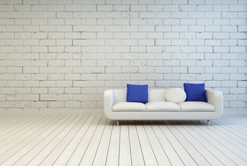 Couch With White and Blue Pillows at Living Room