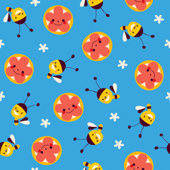 honey bees and flowers seamless pattern