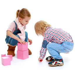 Children playing with blocks.