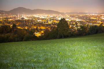 city of Freiburg at night