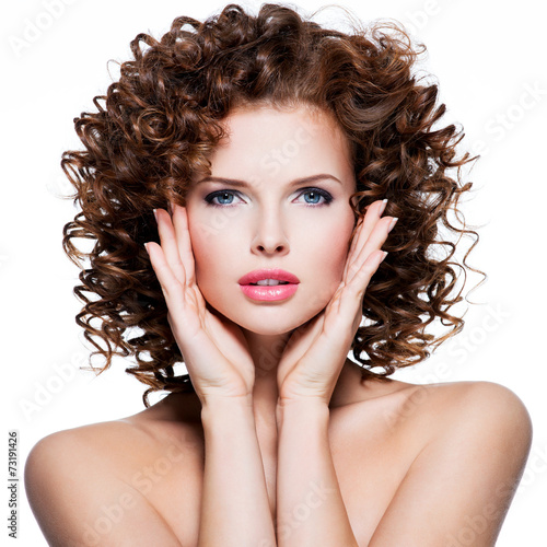 canvas print picture Beautiful sensual woman with brunette curly hair.