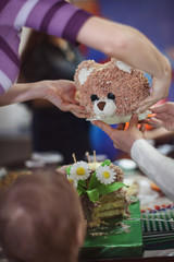 Little boy and his birthday cake in the shape of bears