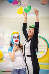mother and daughter at a children's party