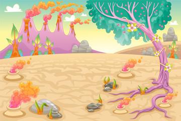 Funny prehistoric landscape