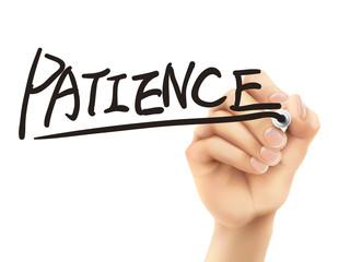 patience word written by hand