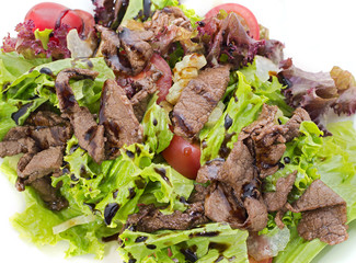Close up of salad with beef and lettuce