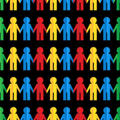 Seamless pattern with colored paper men