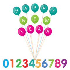Balloons with Happy New Year Text and Numbers