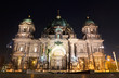 canvas print picture - Berlin Cathedral at night. Berlin, Germany