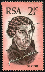 stamp printed in South Africa shows Martin Luther,