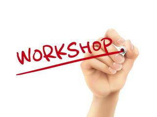 workshop word written by hand