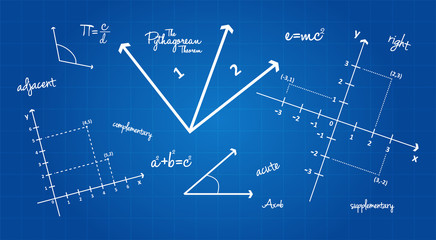 Mathematical Geometry Signs On Blueprint Background