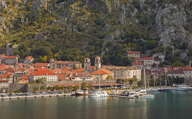View of Old Town of Kotor. Autumn in Montenegro