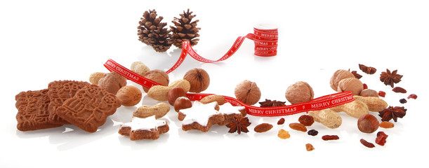 Assorted Christmas Elements on White Background
