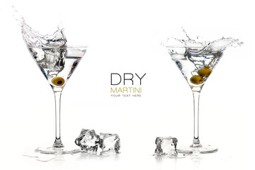 Dry Martini Cocktails. Splashes. Design Template