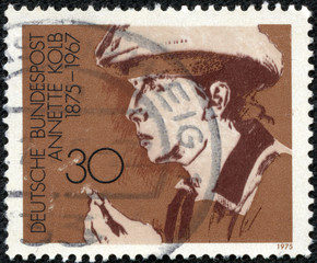 stamp printed in the West Germany shows Annette Kolb